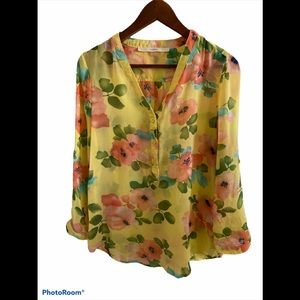 3/$30 Sheer pale yellow flowered button up blouse